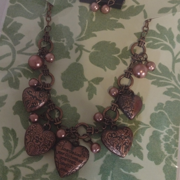 Copper Chunky heart necklace set